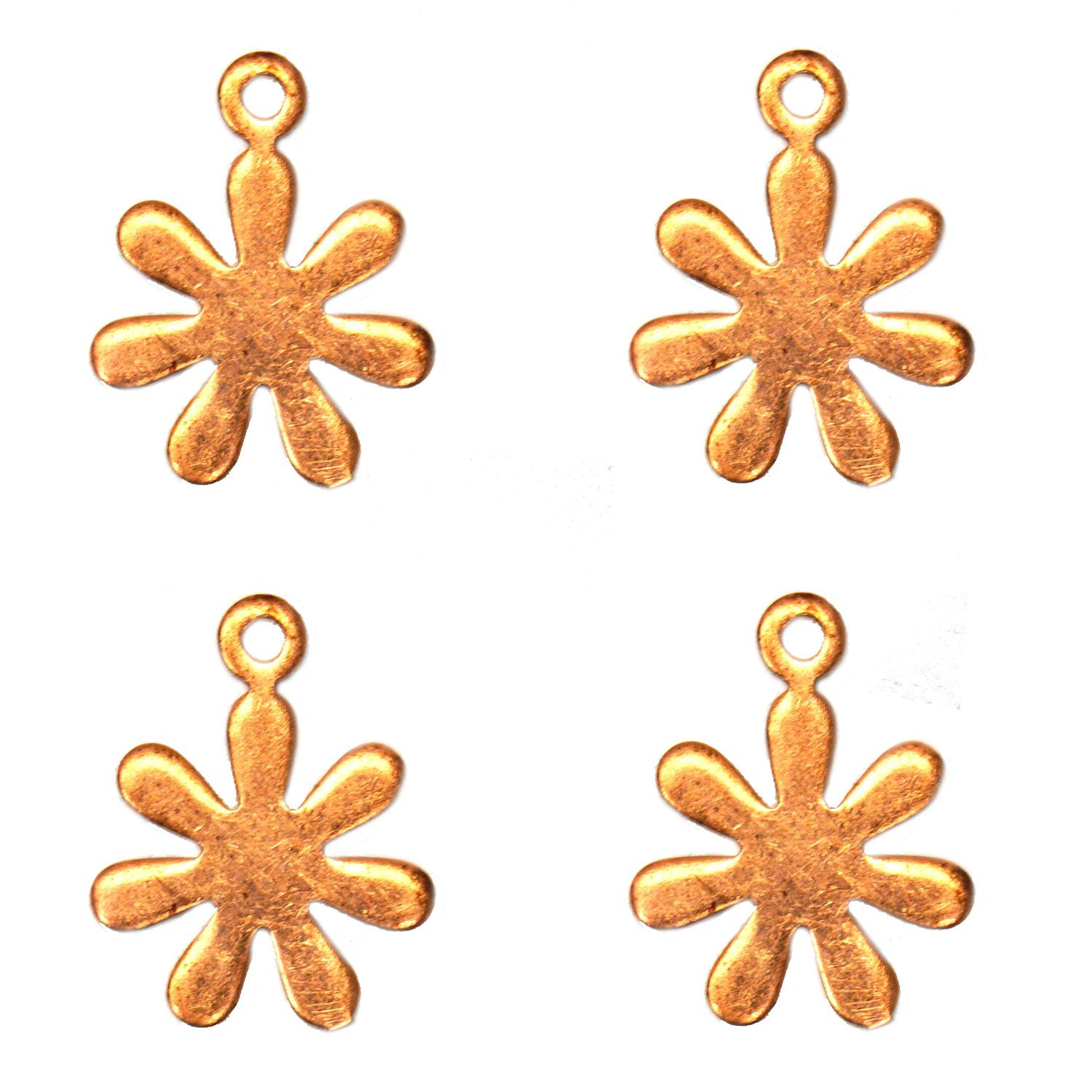 Small Daisy Copper Shape with Tab - 4 Pack