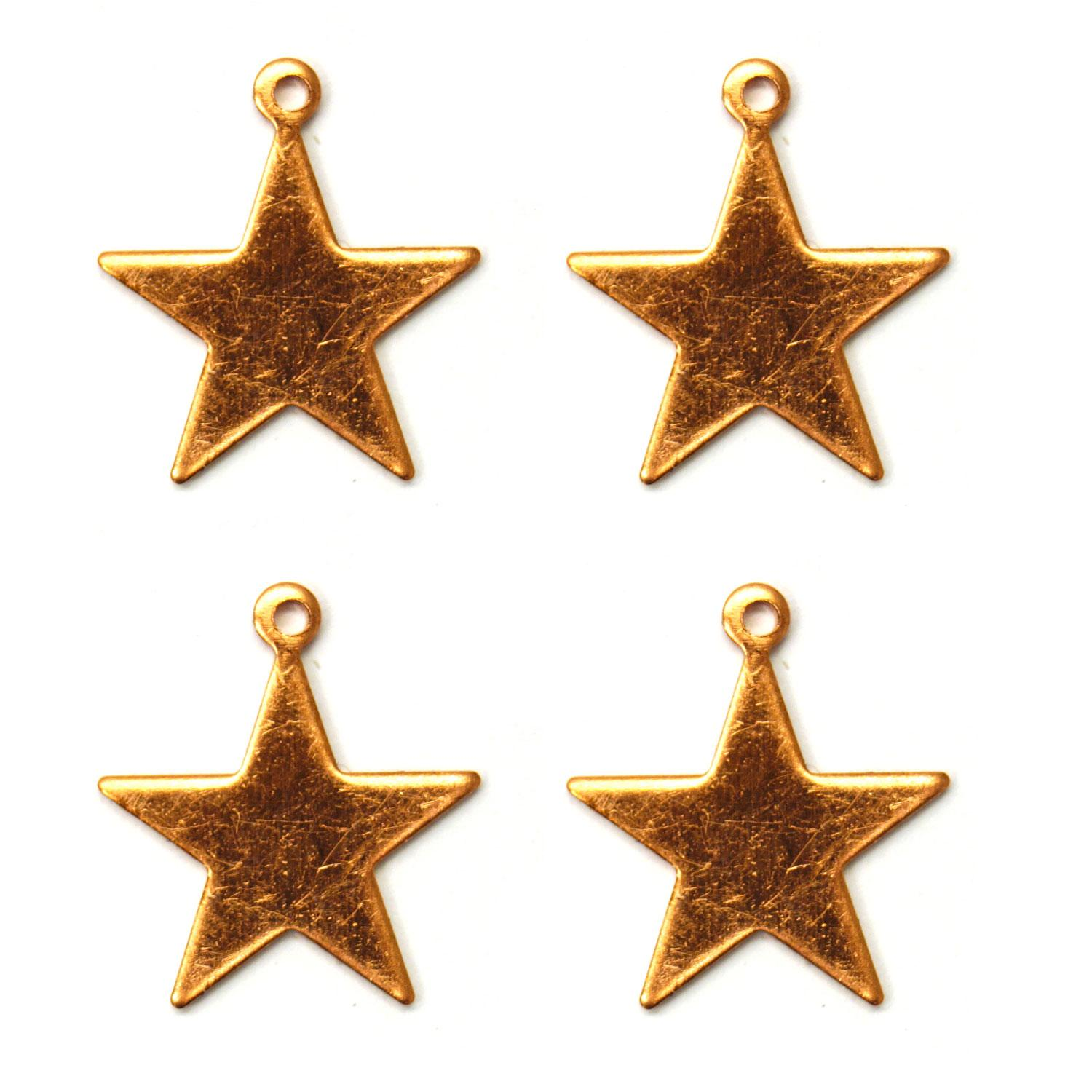 Star Copper Shape with Tab - 4 Pack