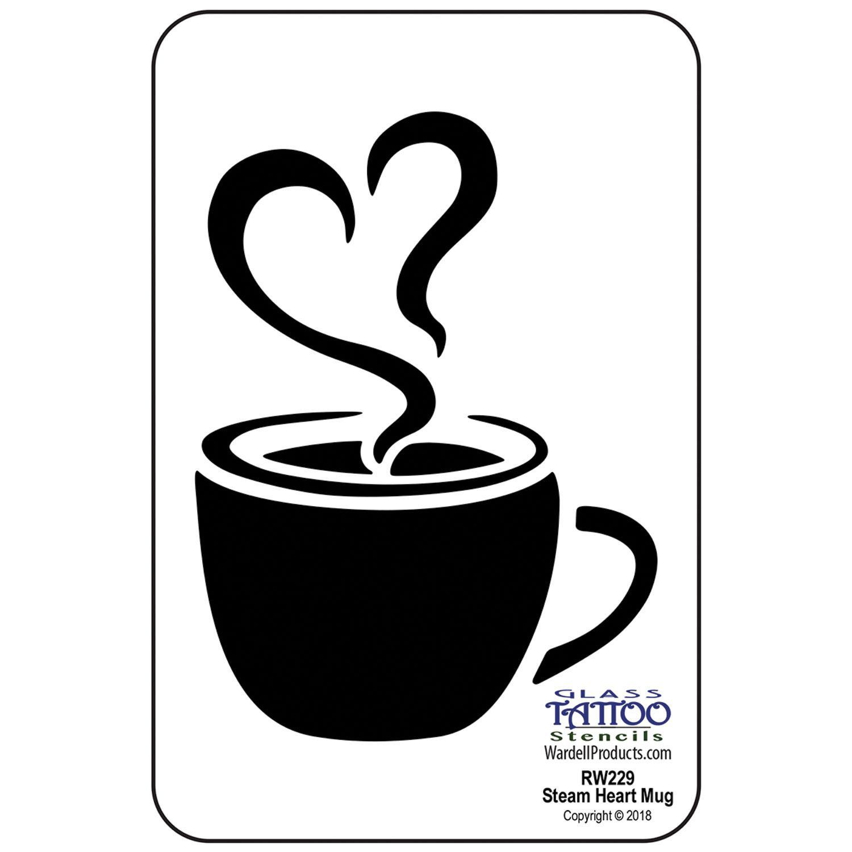 Steam Heart Mug Acrylic Stencil