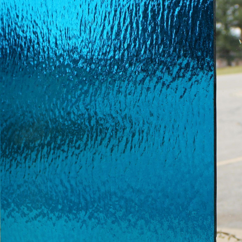 Oceanside Deep Aqua Transparent Rough Rolled