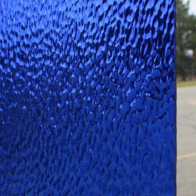 Oceanside Medium Blue Transparent Hammered
