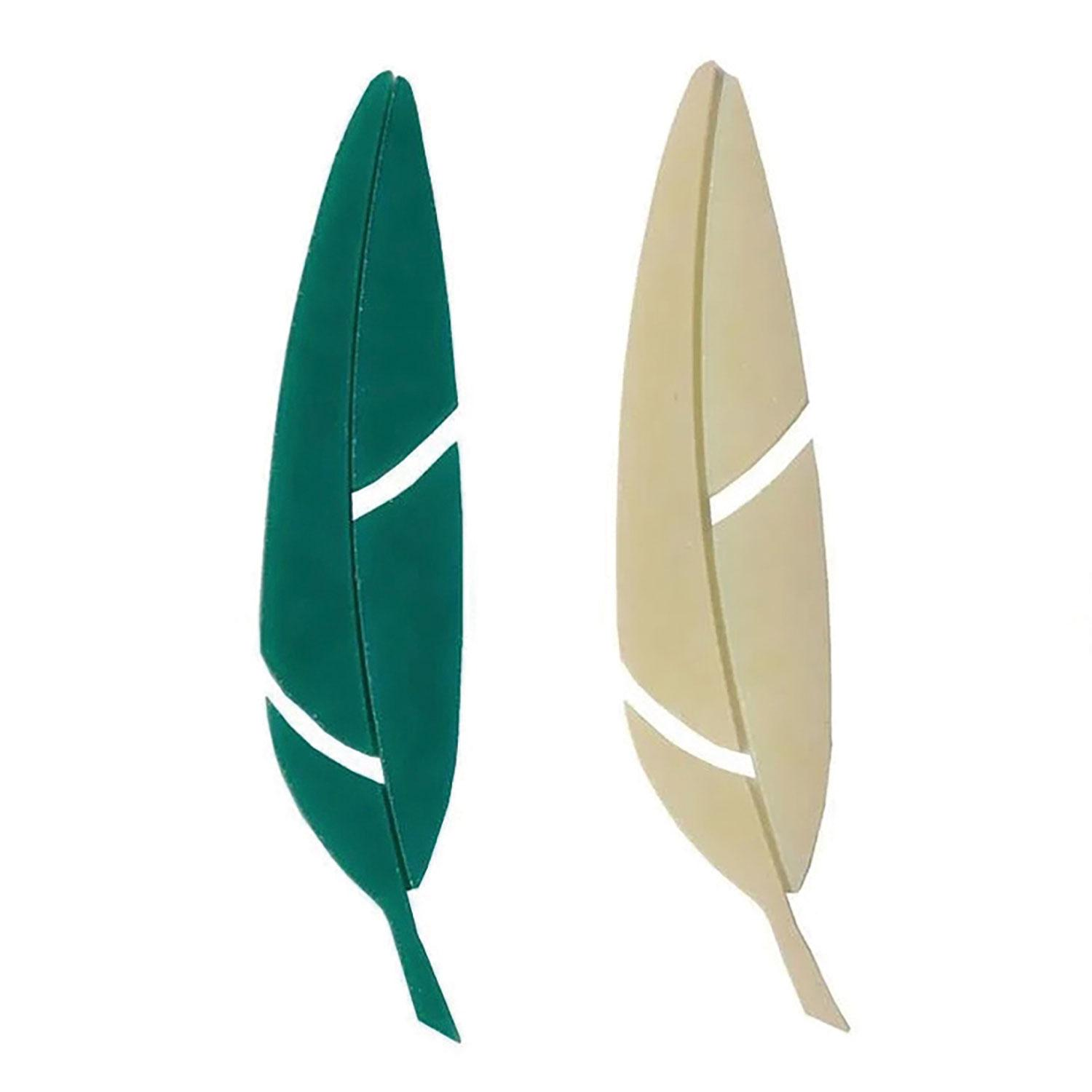 Teal and Ivory Fusible Feathers Pre-Cut 2 Pack - 90 COE