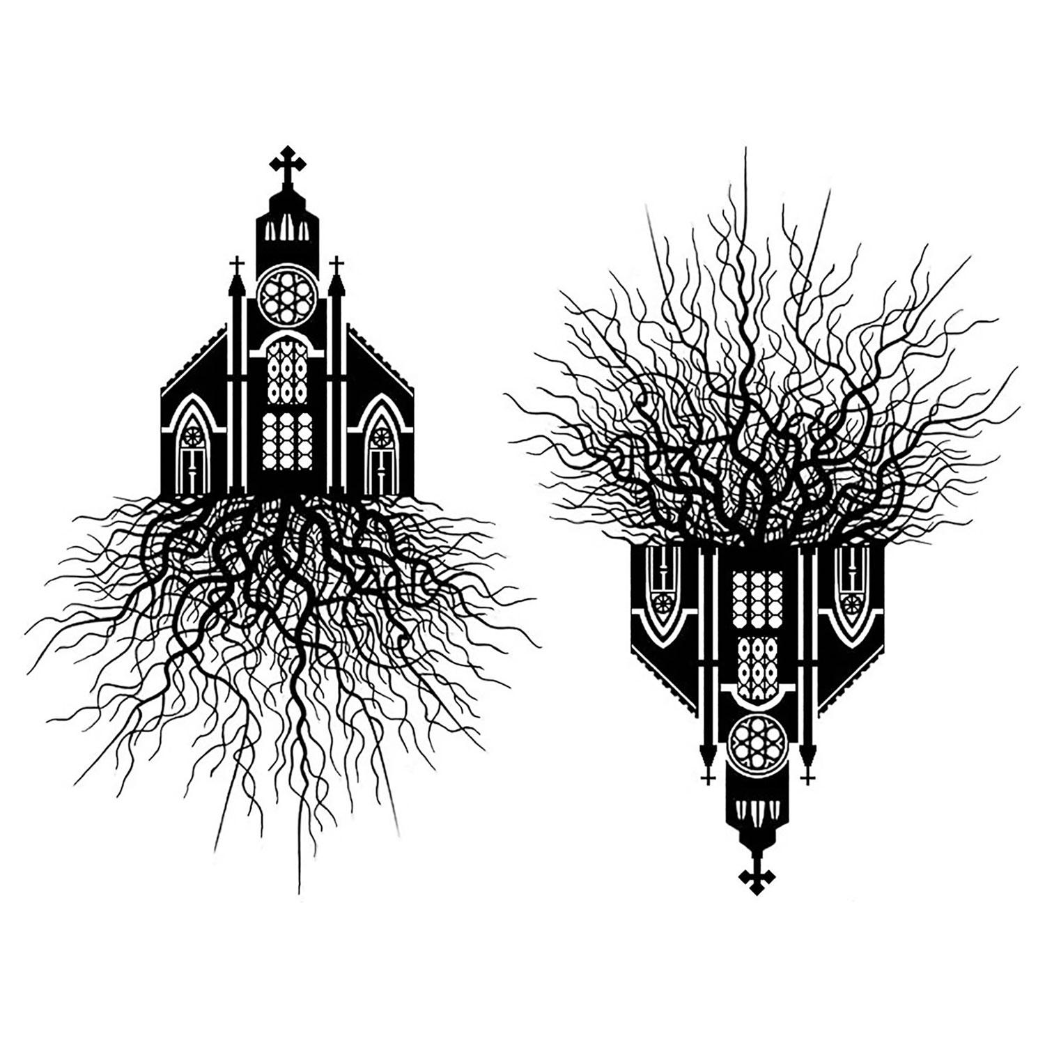 Rooted Church Black Enamel Decals