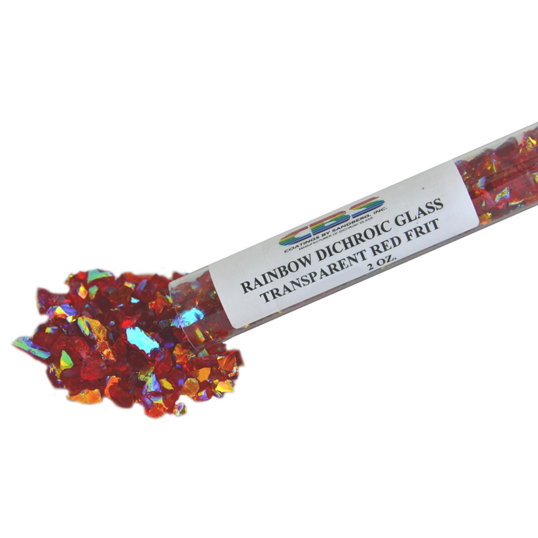 2 oz CBS Rainbow Dichroic Coarse Frit on Red Transparent - 96 COE
