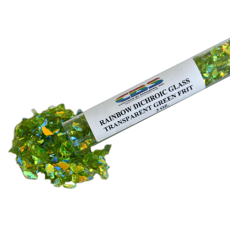 2 oz CBS Rainbow Dichroic Coarse Frit on Green Transparent - 96 COE