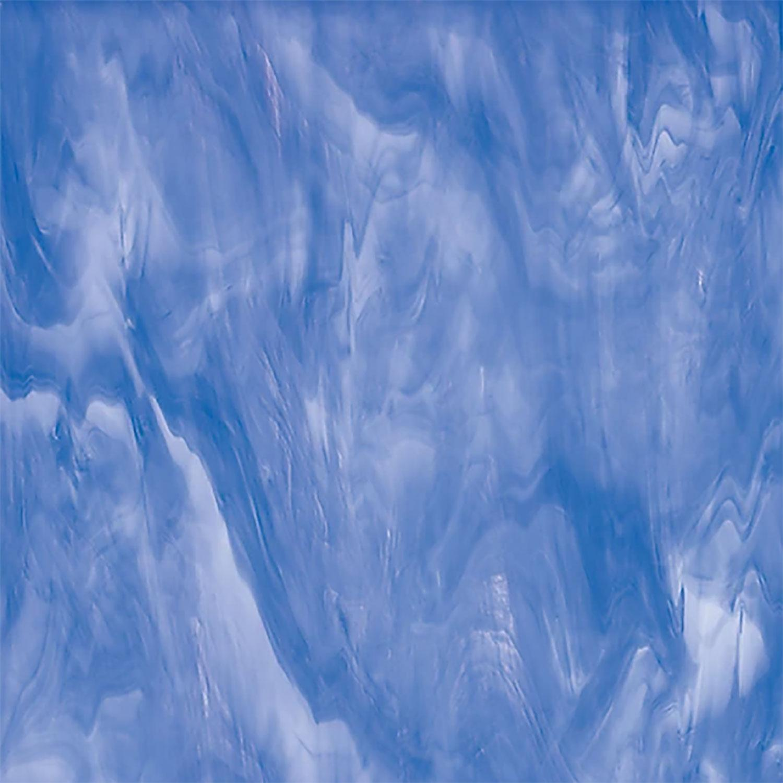 Oceanside Light Blue and White Translucent Streaky - 96 COE
