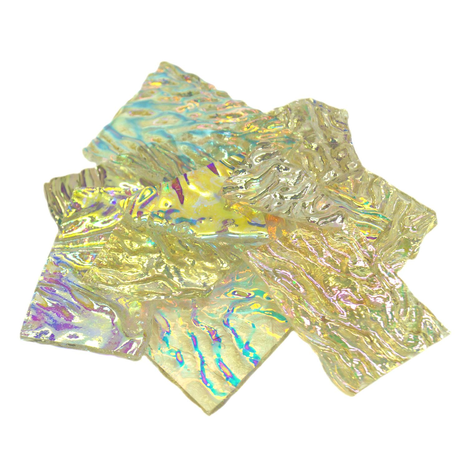 1/2 Lb Premium Dichroic Scrap on Uroboros Clear Herringbone Ripple - 96 COE
