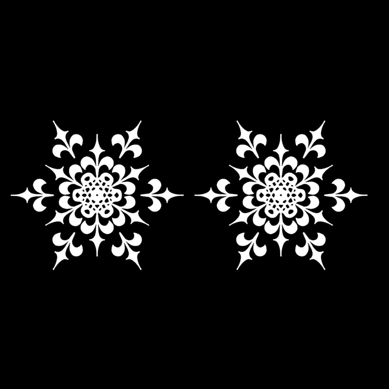 Snowflakes White Enamel Decals - 2 Pack