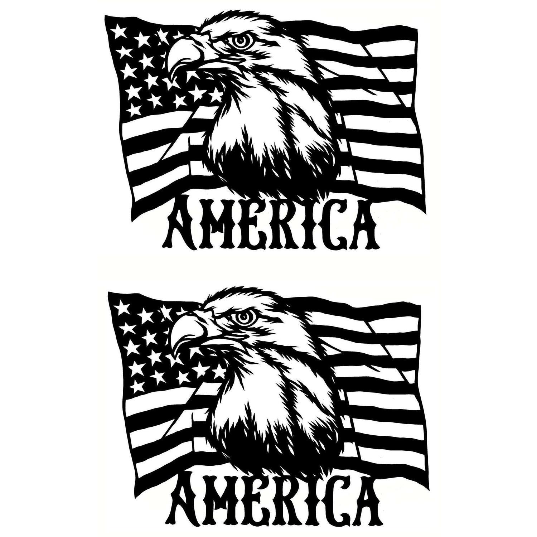 American Flag Black Enamel Decals - 2 Pack