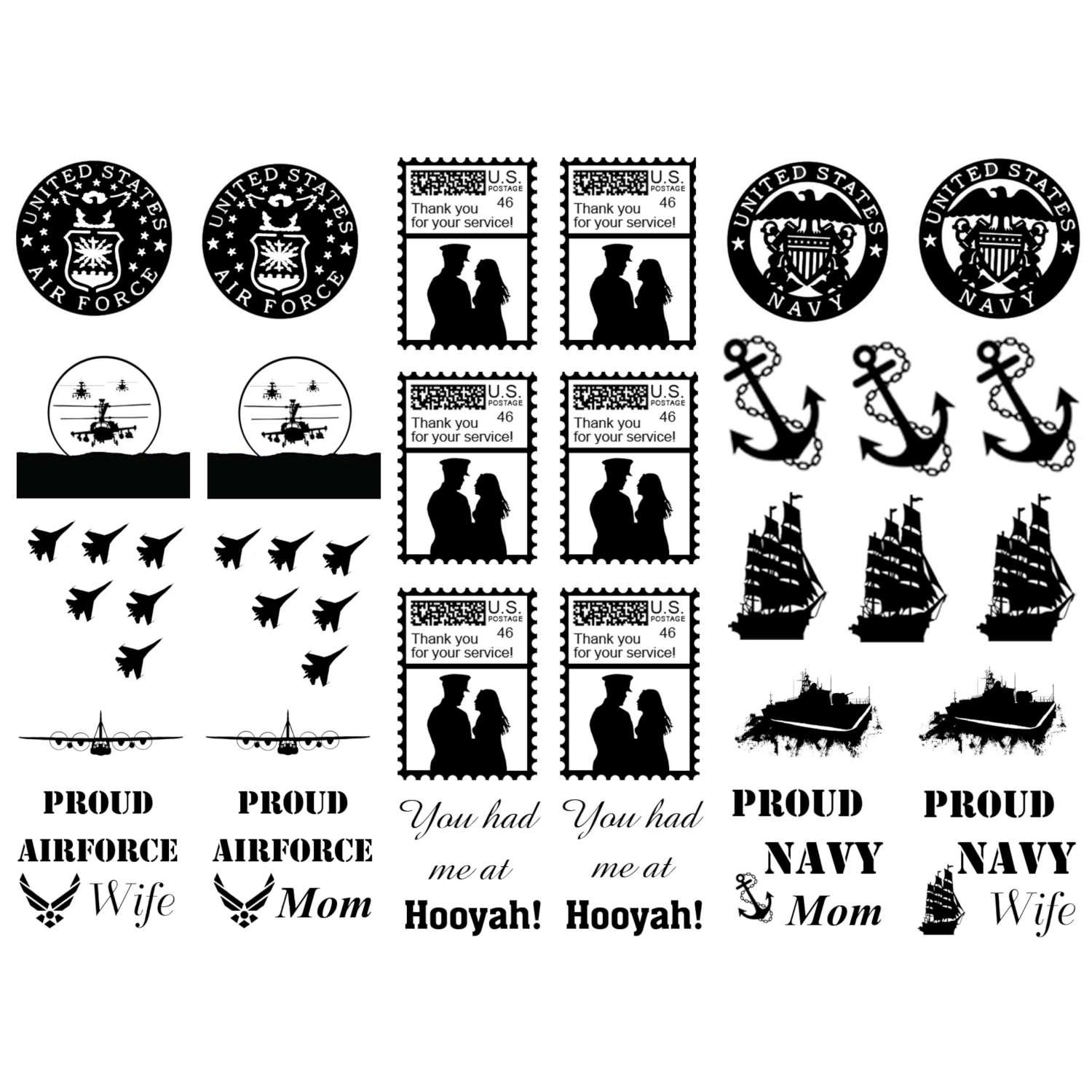 Airforce and Navy Black Enamel Decals