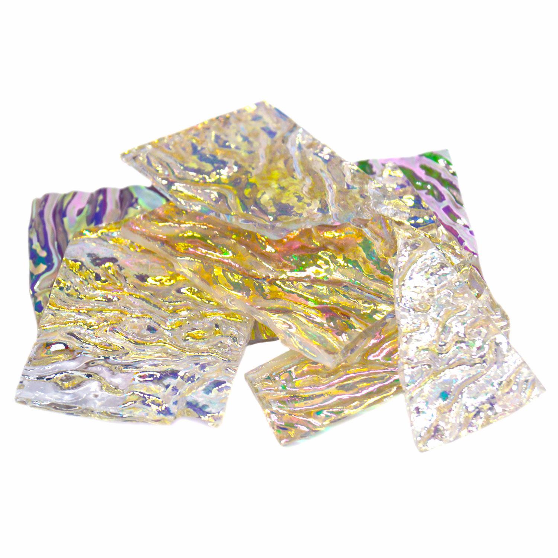 1/4 Lb Premium Dichroic Scrap on Uroboros Clear Herringbone Ripple - 96 COE