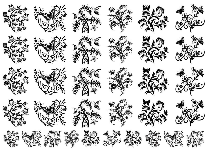 Butterfly Garden Black Enamel Decals