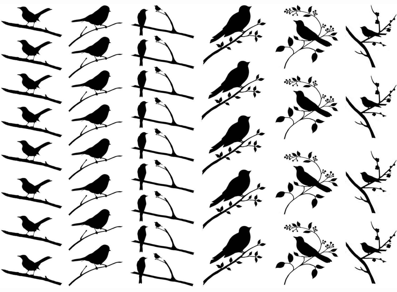 Bird on Branch Black Enamel Decals