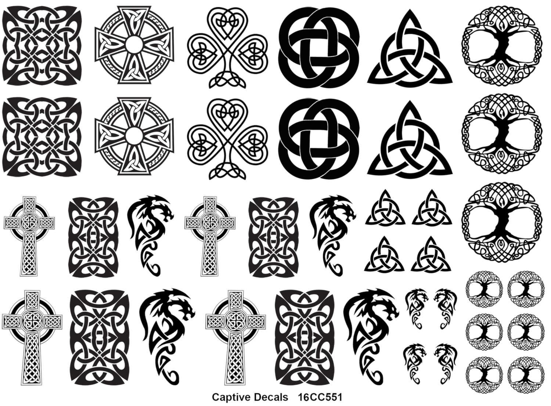 Celtic knot fun black enamel decals white delphi glass