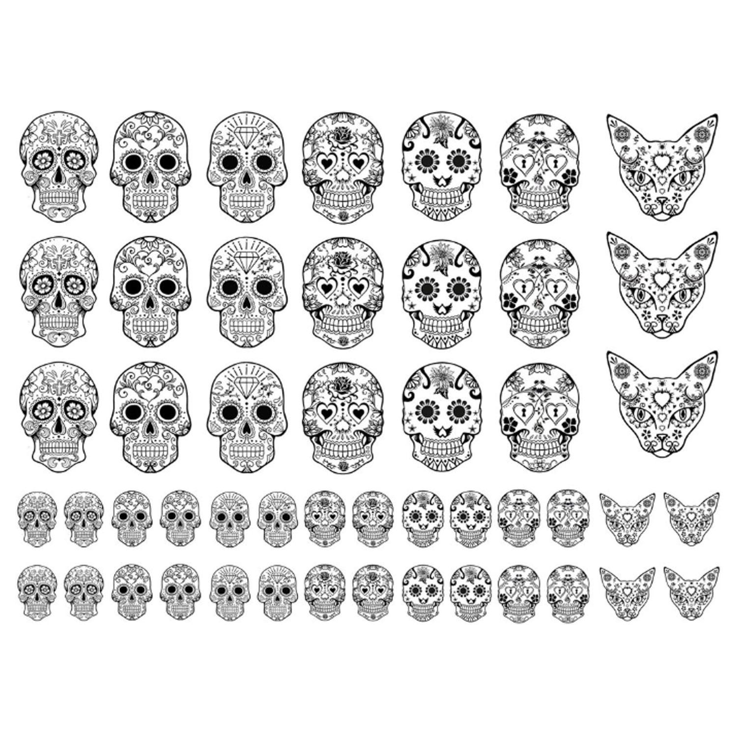 Sugar Skulls Black Enamel Decals