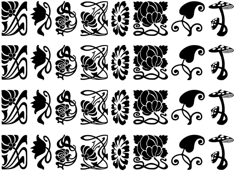 Art Nouveau Flowers Black Enamel Decals