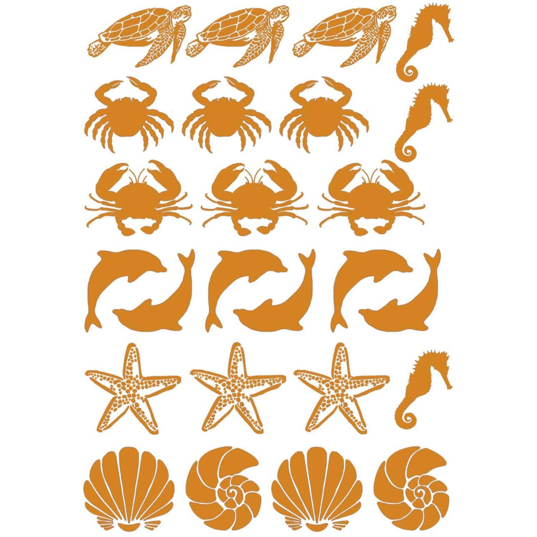 Sea Life Gold Decals