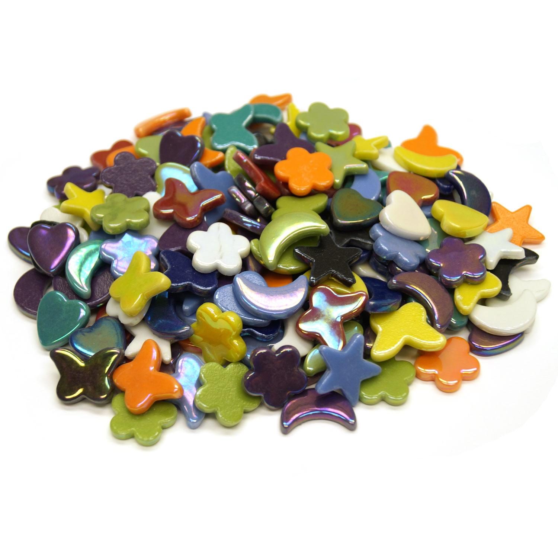 Iridized Garden Dreams Glass Tile Assortment - 1 lb