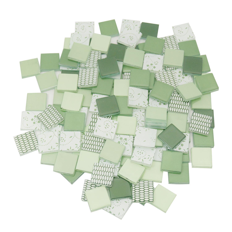 3/4 Grass Green and Mint Green Glass Tile Assortment - 1 lb