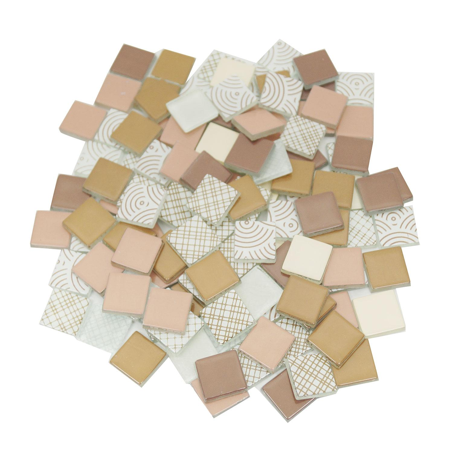 3/4 Maroon and Tan Glass Tile Assortment - 1 lb
