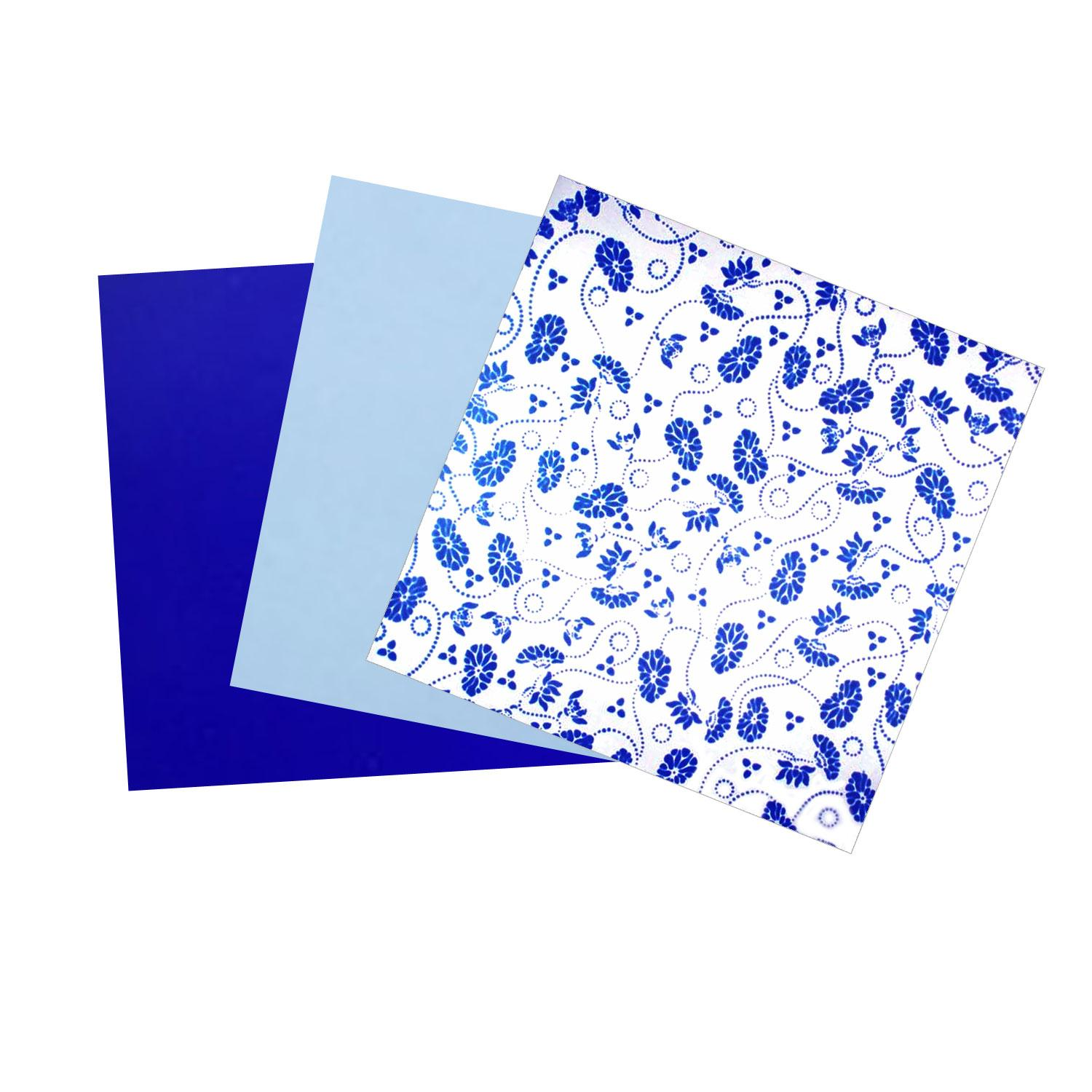 Terrific Trio Painted Dark Blue Opalescent Glass Pack