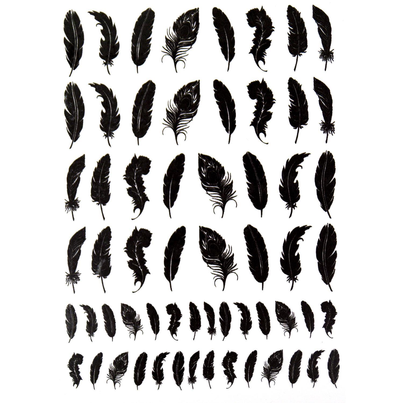 Feathers Black Enamel Decals