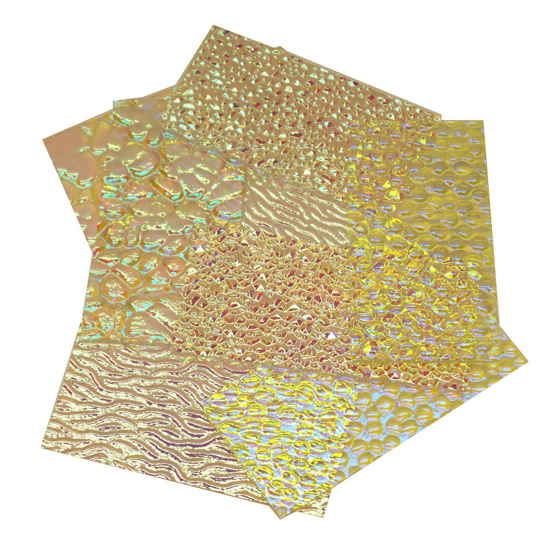 1/2 Lb Wissmach Dichroic Textured Scrap On Clear - 96 COE