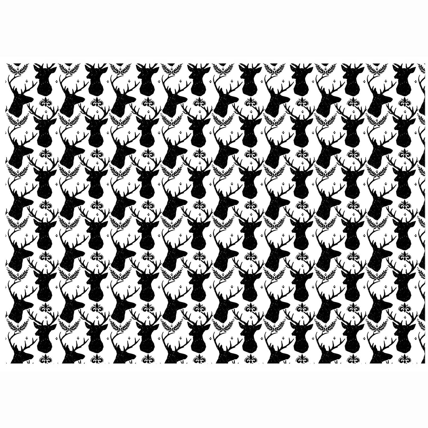 Reindeer Heads Black Enamel Decals