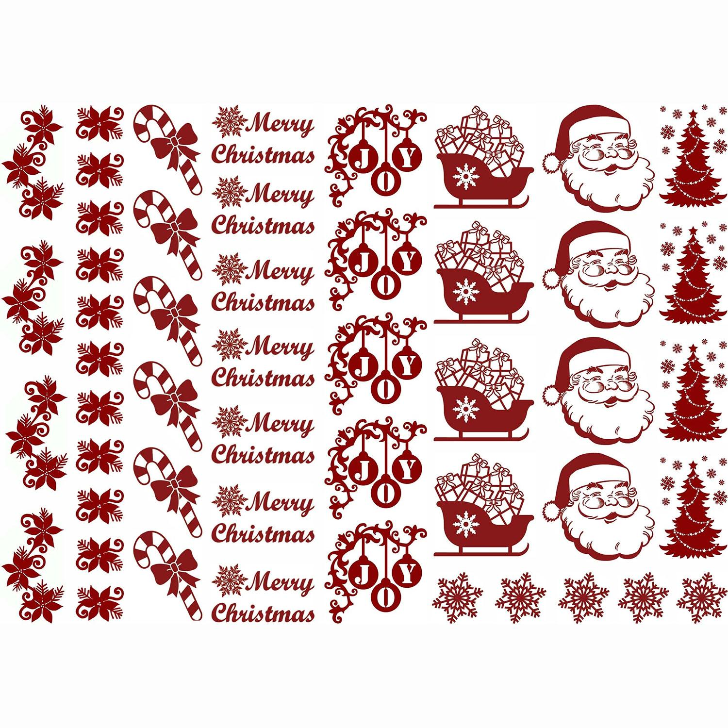 Christmas Fun Red Enamel Decals