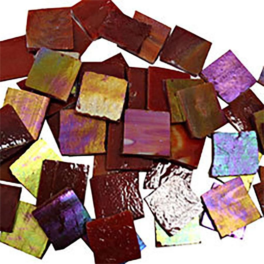 3/4 Red Iridized Stained Glass Chips - 4Lb
