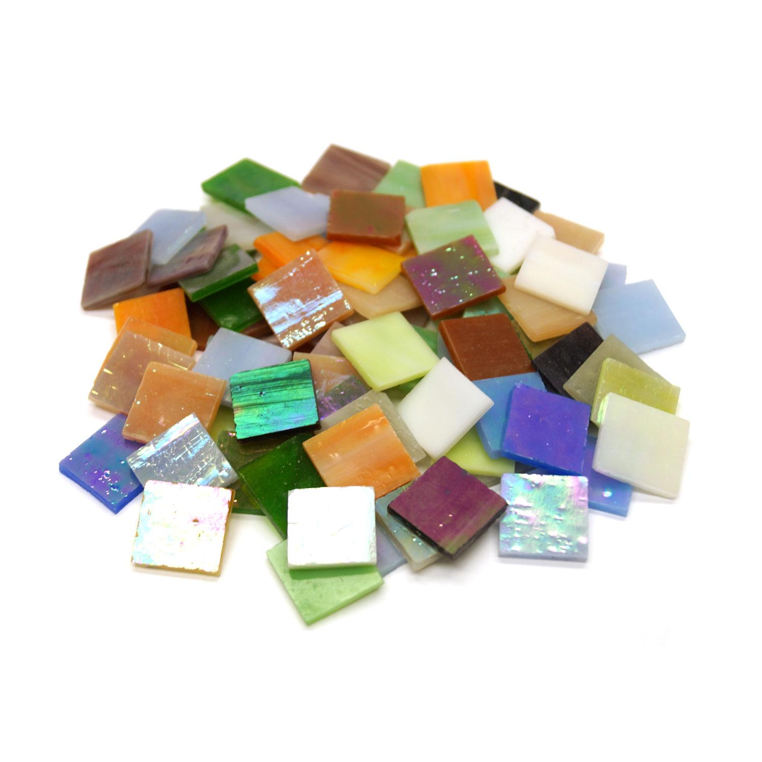 3/4 Iridized Streaky Stained Glass Chip Assortment - 80 Pieces