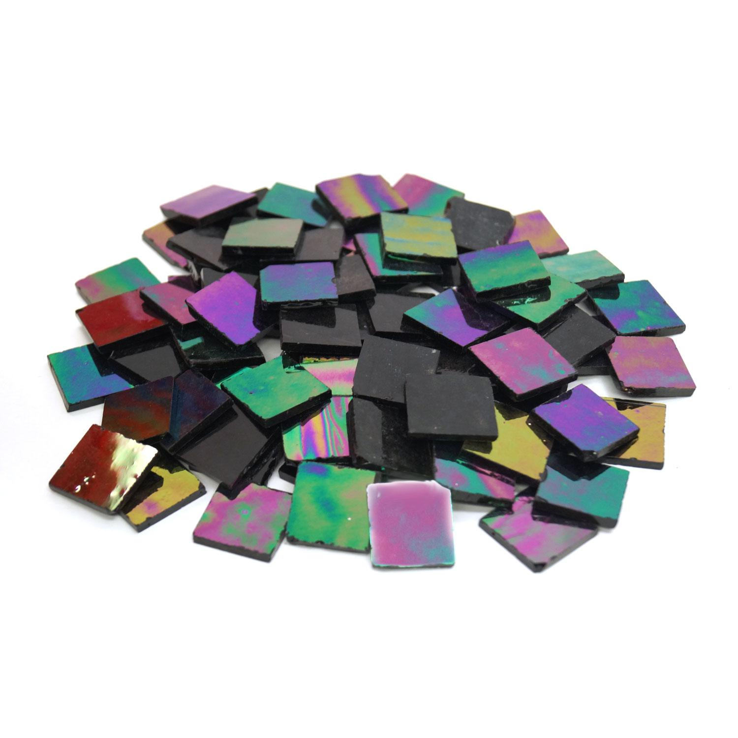 3/4 Black Opaque Iridized Stained Glass Chips - 80 Pieces