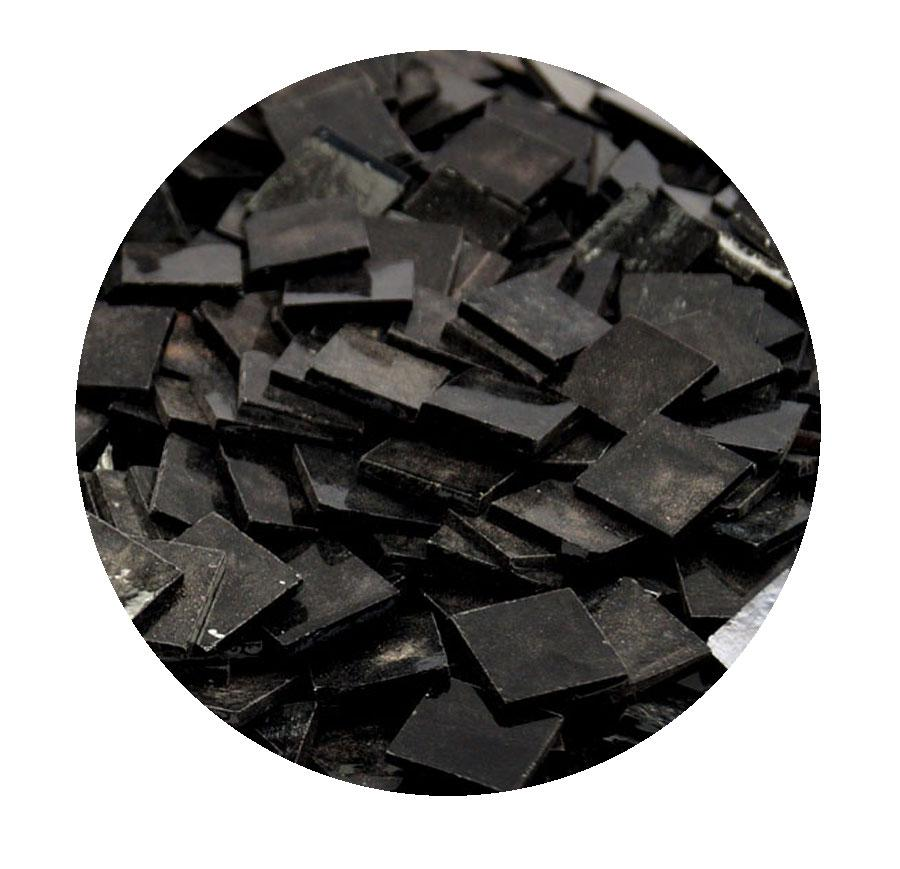 3/4 Black Opaque Stained Glass Chips - 48 Pieces