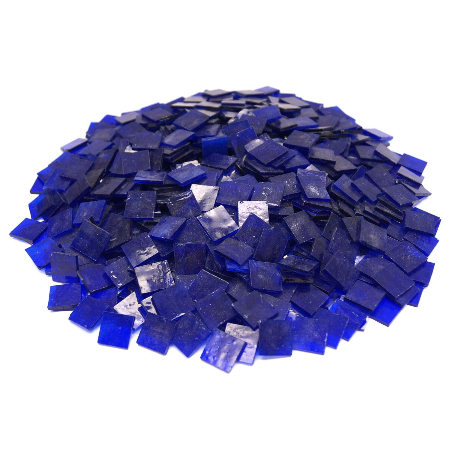3/4 Blue Transparent Stained Glass Chips - 4 Lb