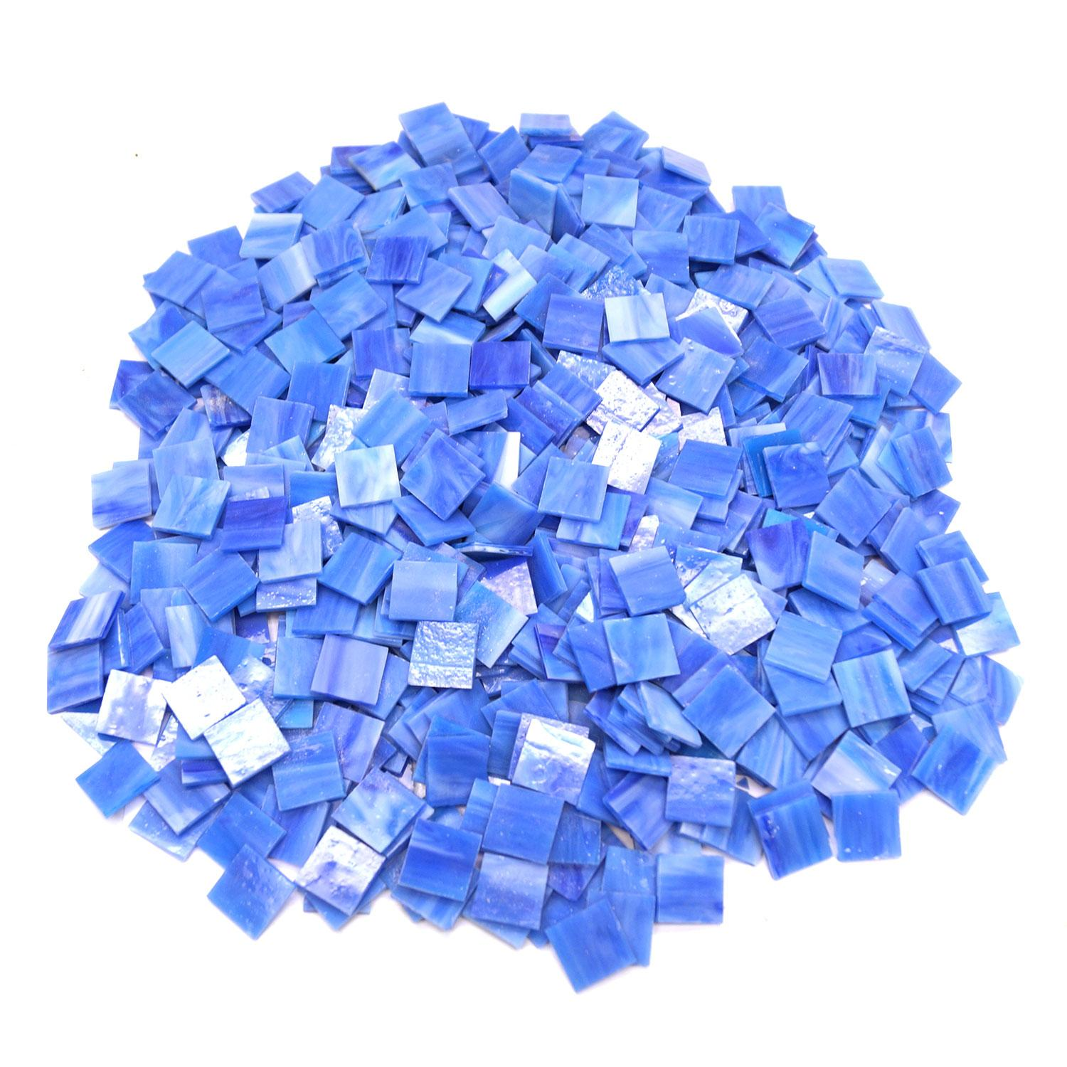 3/4 Blue Opalescent Stained Glass Chips - 700 Pieces