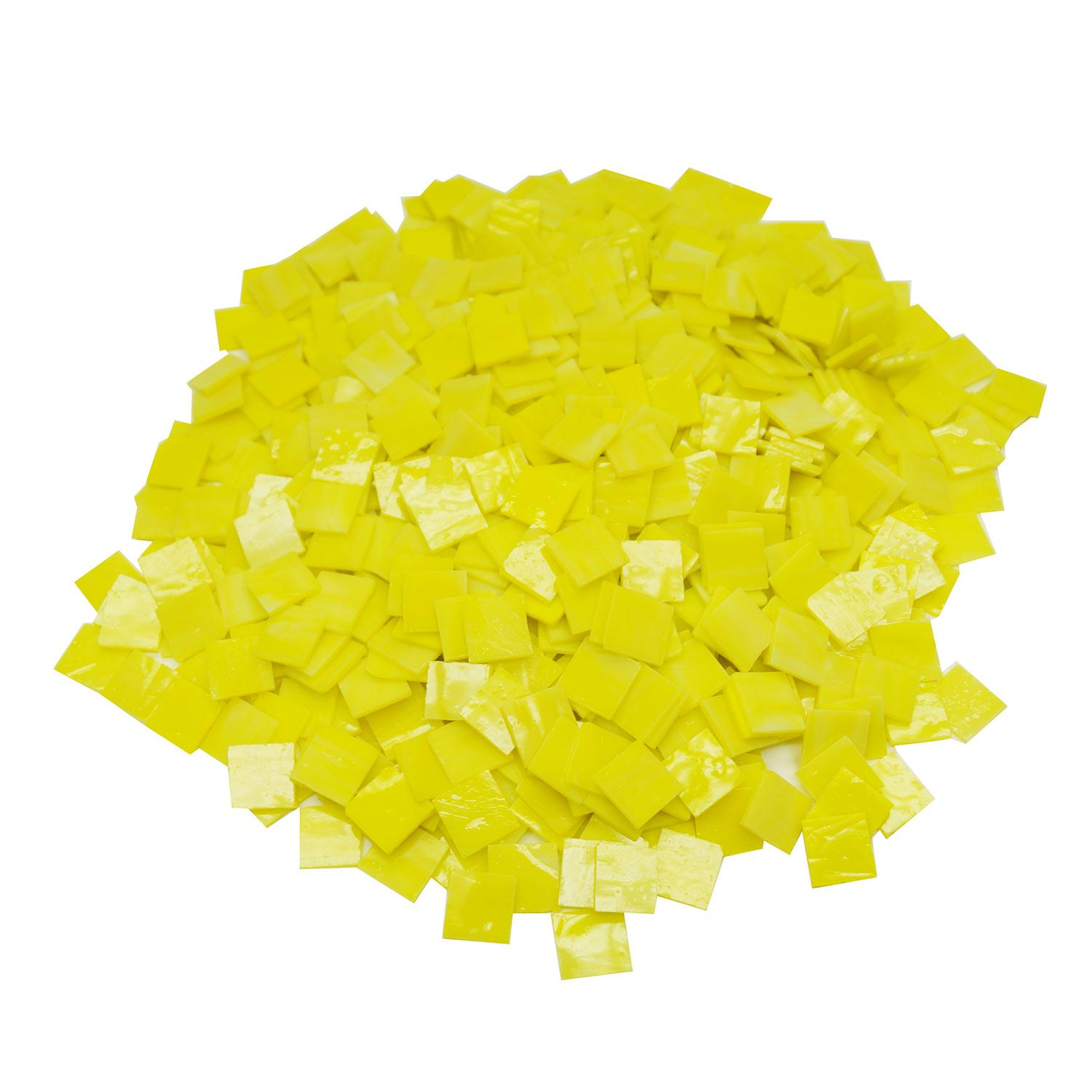 3/4 Yellow Opalescent Stained Glass Chips - 700 Pieces