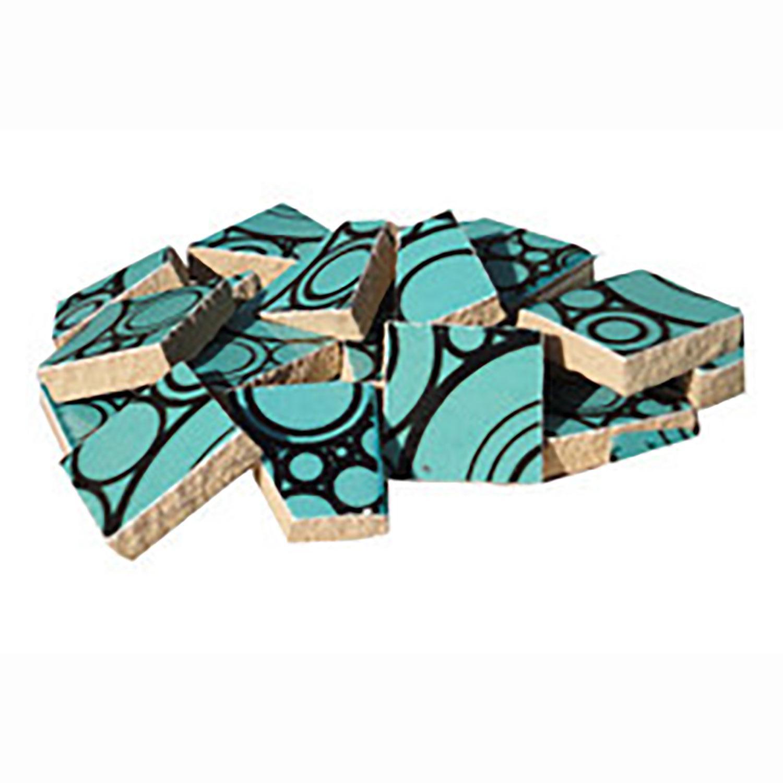 Teal Circles Ceramic Tile - 1 Lb