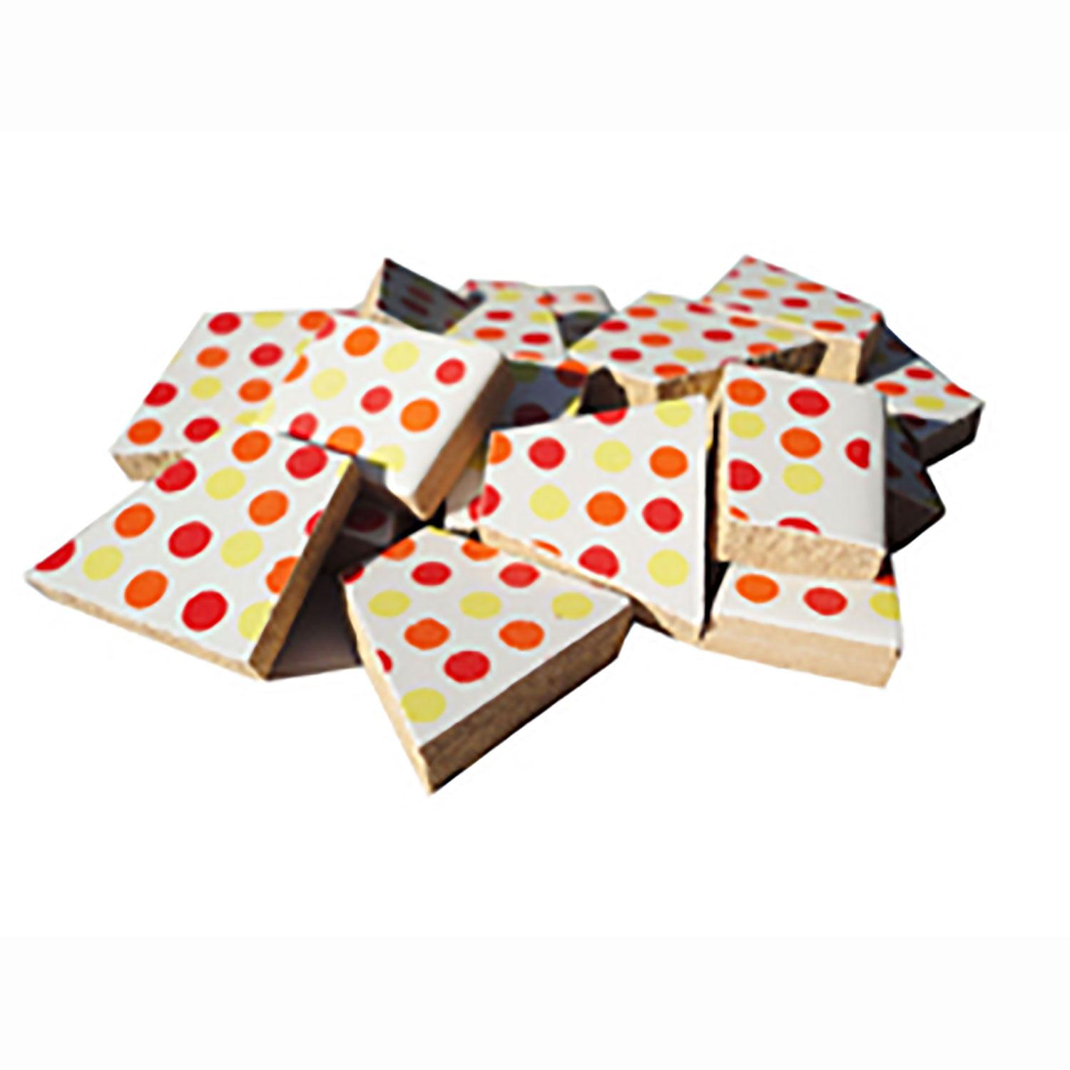 Red and Yellow Dots Ceramic Tile - 1 Lb