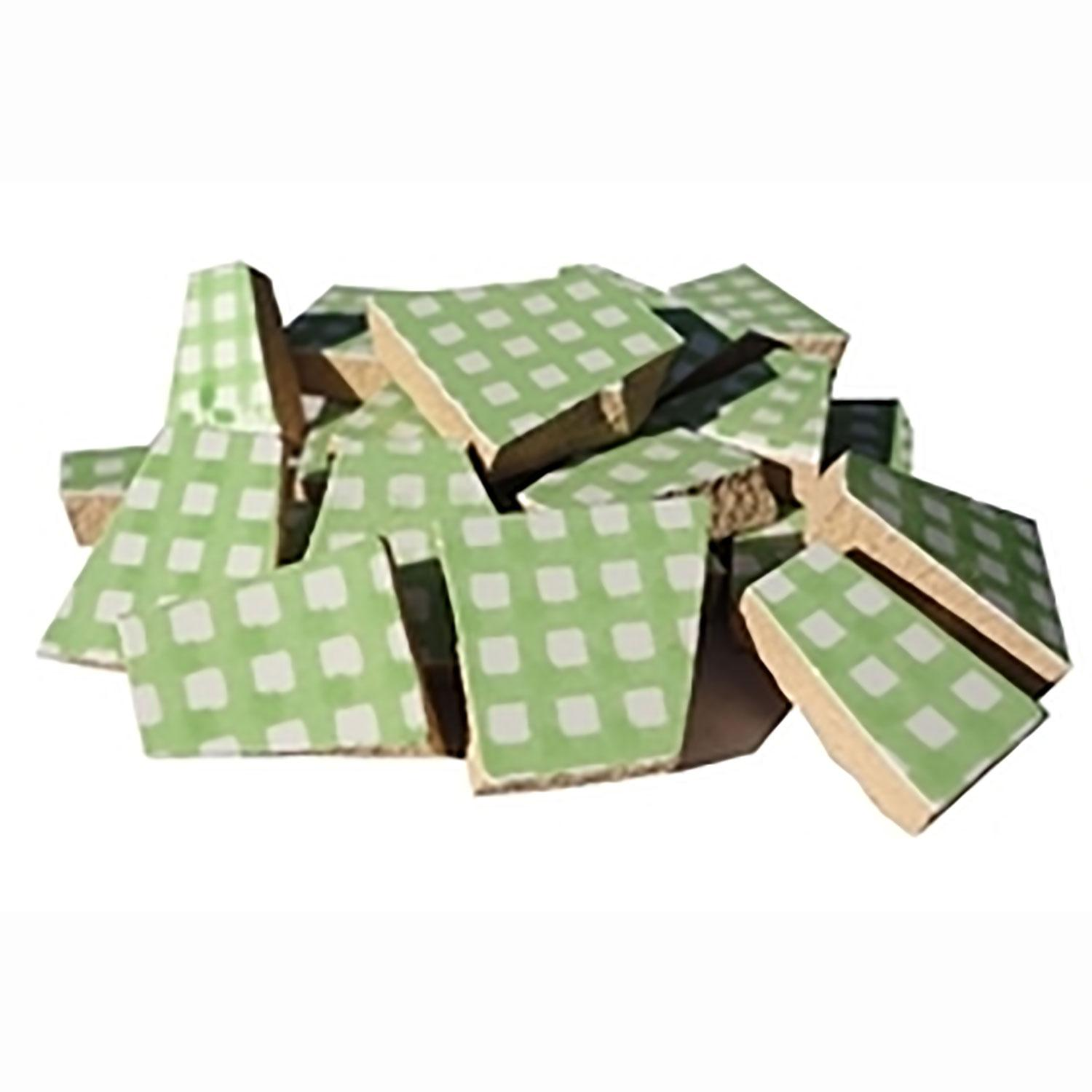 Green Gingham Ceramic Tile - 1 Lb