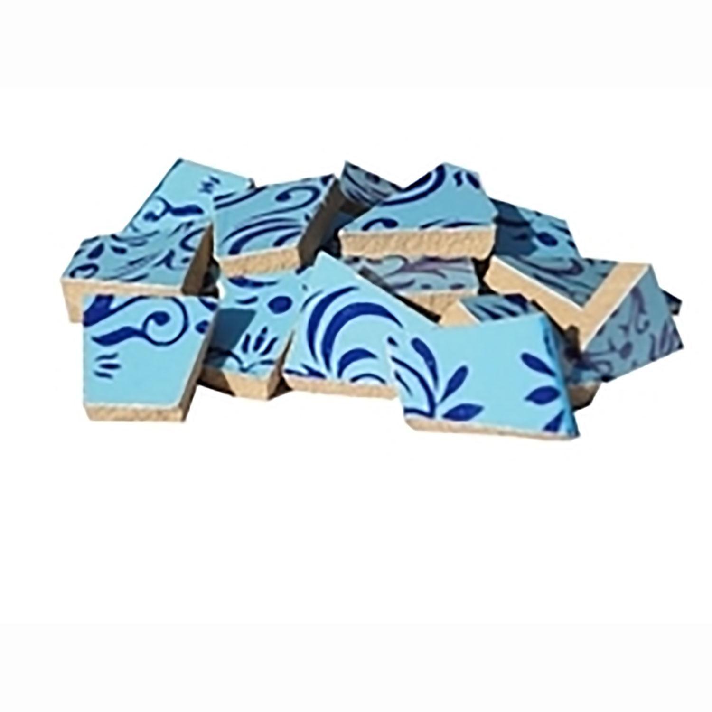Blue Swirl Ceramic Tile - 1 Lb
