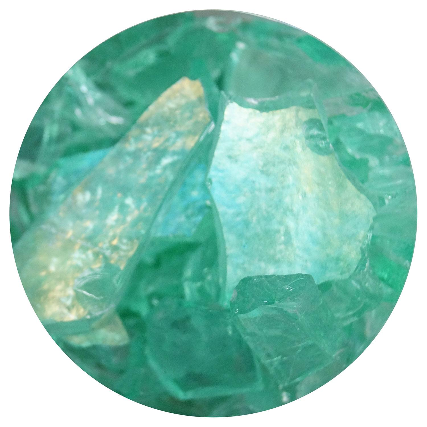 8.5 oz Ming Green Iridized Transparent Mosaic Frit - 96 COE