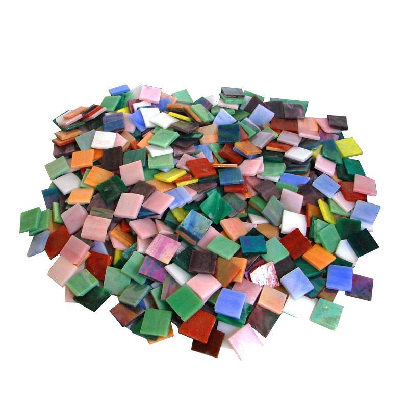 3/4 Iridized Stained Glass Chip Assortment - 640 Pieces