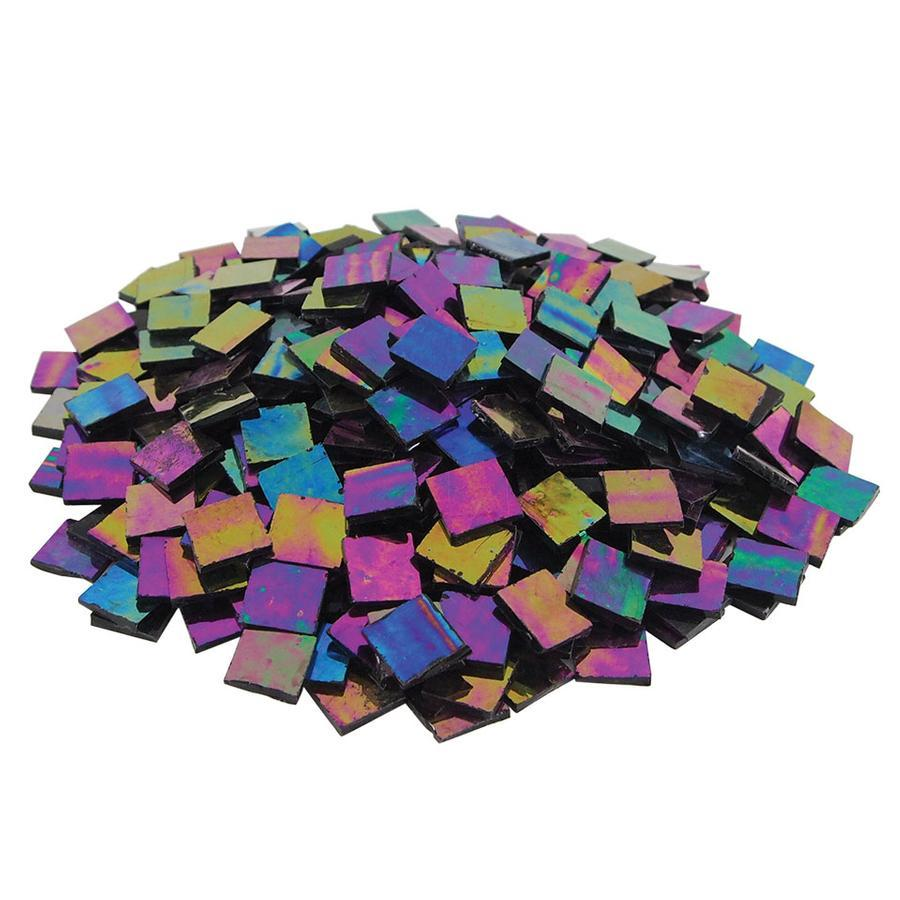3/4 Black Opaque Iridized Stained Glass Chips - 480 Pieces