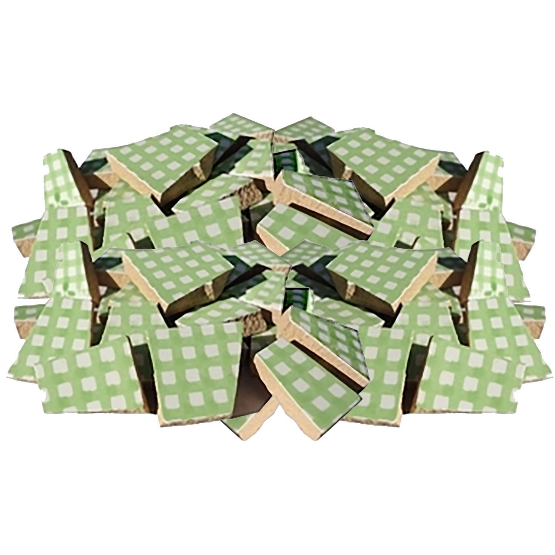 Bulk Green Gingham Ceramic Tile - 4 Lb