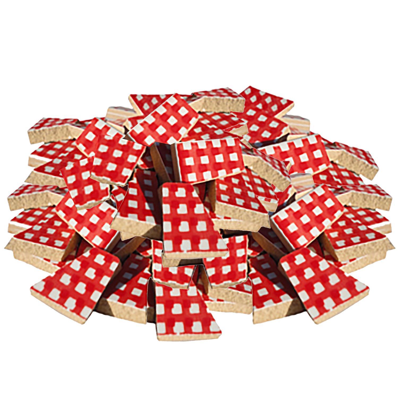 Bulk Red Gingham Ceramic Tile - 4 Lb