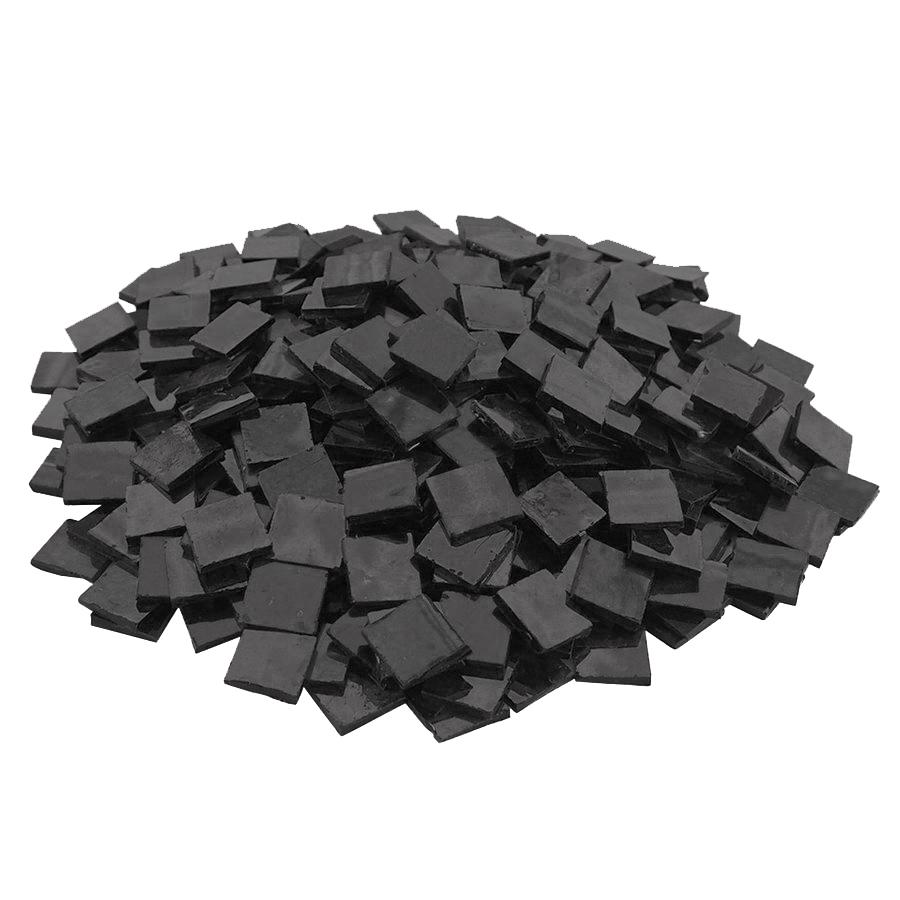 3/4 Black Opaque Stained Glass Chips - 480 Pieces