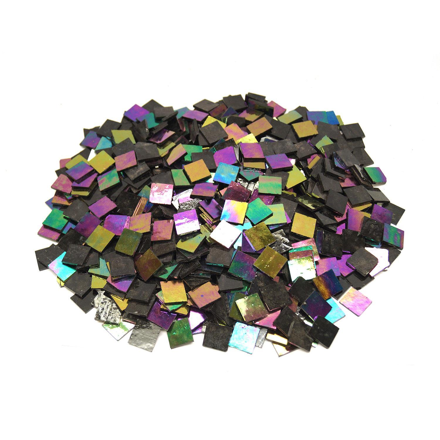 3/4 Black Opaque Iridized Stained Glass Chips - 640 Pieces