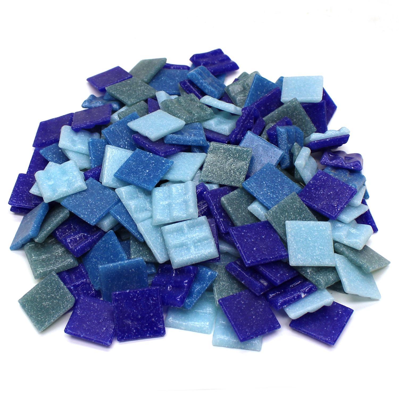 3/4 Denim Venetian Glass Tile Mix - 1 Lb