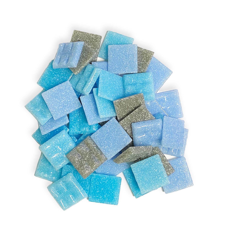3/4 Blue/Gray Venetian Glass Tile Mix - 1 Lb