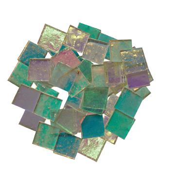 Fuseworks Clear Dichroic 1/2 Squares 48 Piece Assortment - 90 COE